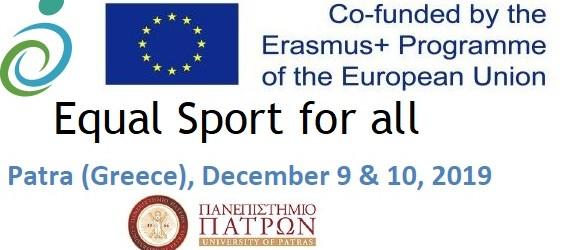 """2019-Οκτώβριος, International Conference at University of Patras  """"Equal Sports for all"""". Presentation of Project """"Descrοptio"""" visible sports for all."""